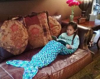 Mermaid Tail Blanket With Crocodile Stitches/Mermaid Blanket/Mermaid Tail Blanket Kids/Mermaid Tail Blanket Adult/Kids Mermaid Tail Blanket
