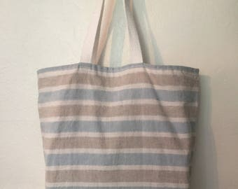 Large linen shopping bag, reversible grocery bag, reusable shopping tote, washable beach bag