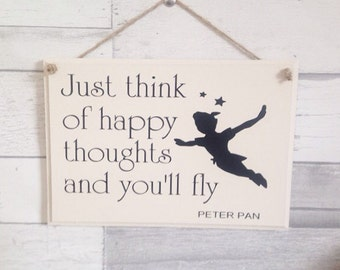 Peter pan, quoted wooden sign. Kids bedroom, christening gift, birthday present,