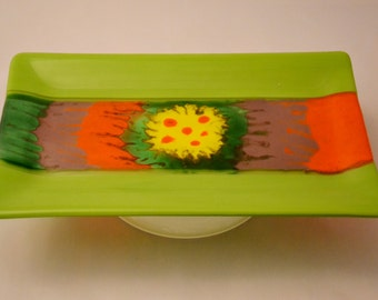 fused glass platter, handpainted, green, yellow, purple, orange handmade