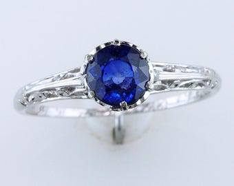 Vintage Antique .75ct Solitaire Sapphire Platinum Deco Engagement Ring