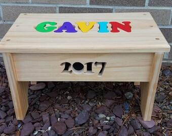 wooden puzzle name step stool furniture childu0027s room nursery birthday
