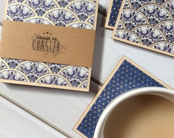 Gold Coaster Set, Blue and Gold Coasters, Blue and White Coasters, Gold and White Coasters, Set of Wooden Coasters, Wood Coaster Set