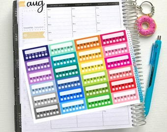 Habit Tracker Stickers - Colourful Brights | Sheet of 24 | Erin Condren Vertical Hourly Life Planner Stickers