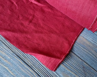 Burgundy linen fabric by the meter, softened natural linen burgundy fabric, washed stonewashed dark red linen fabric by the yard 7oz