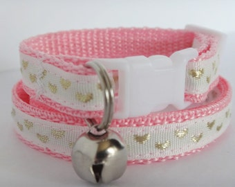 Cat Collar - Kitten Collar - Pink Cat Collar with Hearts-Girl cat collar-Adjustable Breakaway Cat Collar-Cute Cat Collar with Removable Bell