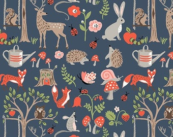 Blue Modern Organic Fabric, Deer, Quilting Weight Cottons, Woodland, Monaluna, Cottage Garden By the Yard, Foxes, Hedgehogs