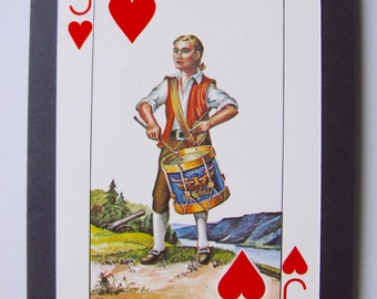 Unique Valentine card made with a rare vintage playing card. Jack of Hearts, 'The Drummer'.