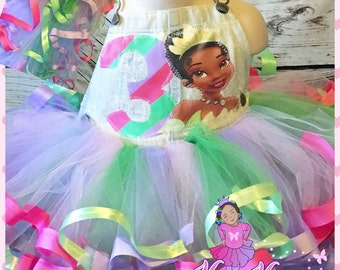 Princess tiana ribbon trimmed overall tutu set