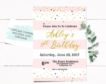 Teen Invitation, Girl Birthday Invitation, Teen Girl Invitation, Gold Invitation, Girl Invitation, Adult Invitation, Glitter Invitation