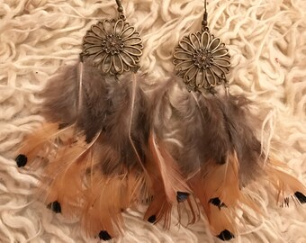 Feather brown and bronze dangly earrings