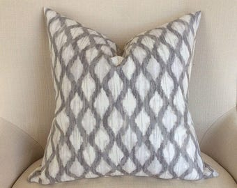 Gray Ikat Pillow Cover, accent pillow cover, Gray White pillow, Handmade pillows, Throw pillow, Designer's fabric pillow