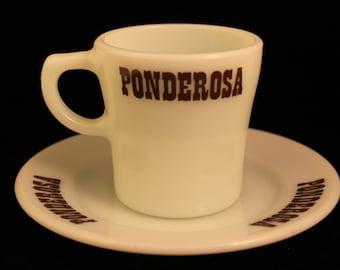 Vintage Pyrex Ponderosa Mug and Saucer Milk Glass Set Coffee Tea Cup Gift Collectible