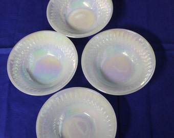 Federal Glass Opalescent Lusterware Berry Bowls Vintage 1950's Set of 4  Diamond Flare Irridescent Serving Dishes - Kit0403