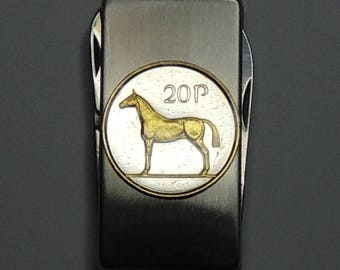 Irish Horse - Gorgeous 2-Toned (Hand done) Gold on Silver Coin - Combination Knife and scissor Money clip