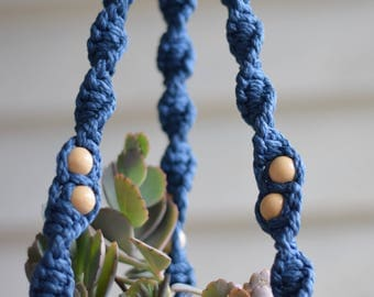Macrame Plant Hanger with Natural Beads