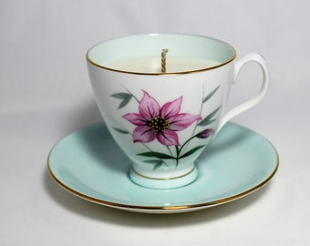 Tea Cup Candle. Vintage Royal Albert Tea Cup and Saucer.  Jasmine scented soy wax. English Bone China.  By Fizzy Fuzzy.