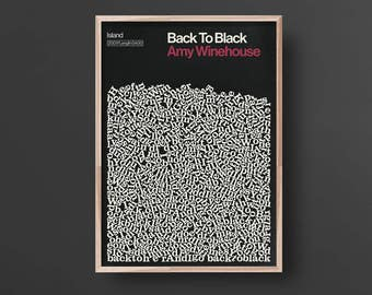 Back to Black, Song Lyric Print, Amy Winehouse