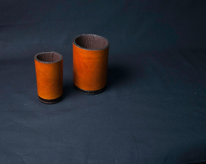 Leather vessels, jugs, containers, pencil holders. Artists, writers, hipsters gift. Office home and studio accessory.