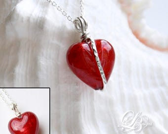 Murano Glass 14mm Red Heart Reversible Necklace Sterling Silver