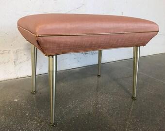 Mid Century Hollywood Regency Vintage Vanity Stool Bench MCM Retro Mamie Pink Gold Draper