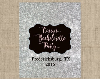 Personalized Lip Balm Labels - Silver Glitter Bachelorette Party labels -  1 Sheet of 12 Lip Balm Labels - Custom Lip Balm Labels