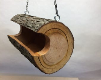 Bird Feeder- The Original Natural Log Seed Feeder - Wild Cherry - Large Bird Feeder upcycled from fallen trees - Hand Made - Unique - OOAK