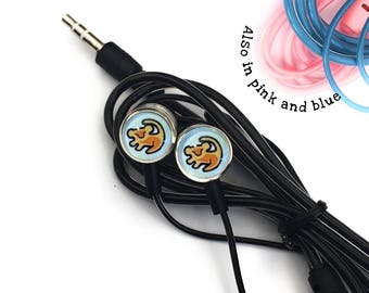 Disney Simba The Lion King Headphones Earphones Festival Style Universal Personalised With Glass Cabochons