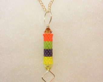 Tubular Peyote Pendant Necklace/Seed Beads/Hand-woven