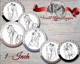 Wedding  Sketches Bride and Groom- Black and White - 1 inch Set of 15 Bottle Cap images -  600dpi  printable digital sheet, stickers,magnets