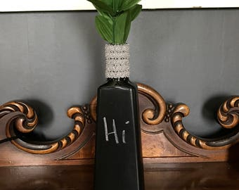 Vase, chalkboard vase, repurpose, recycle, reuse, diffuser bottle, candle holder, chalk board
