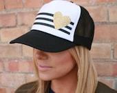 Adult gold heart trucker hats