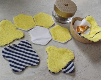 Makeup remover pads Cloth wipe, Face scrubbies Reusable cotton rounds Washable organic cotton and bamboo Facial Clensing Wipes Bee and Honey