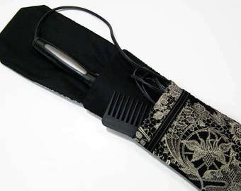 Insulated Curling Iron, Flat Iron, Hair Iron Travel Case in Black and Cream Floral Lace Fabric
