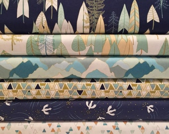 Navy and Blue Coordinating Fat Quarter Bundle - 100% Cotton Quilting and Patchwork Fabric