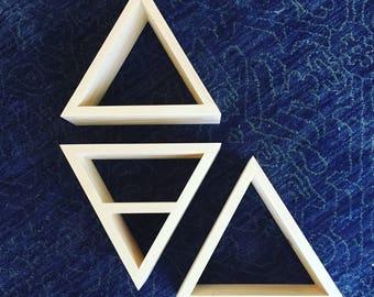 Set of 3 Geometric Triangle Shelves