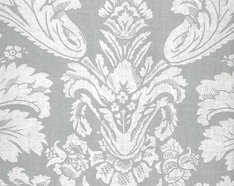 AU MAISON coated oilcloth Victorian Baroque dusty blue cotton 1 m