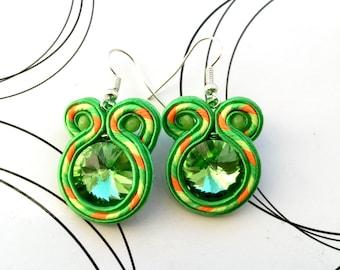 Soutache Earrings, Neon Green Earrings, Casual Jewelry, Neon Jewelry, Small Earrings, Funny Earrings, Gift For Girl, Gift Under 20