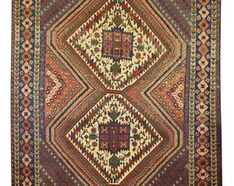 Cm 175x138 old persian rug (turkish rug afghan rug) Afshari beige red color handmade retro style Free shipping -215-