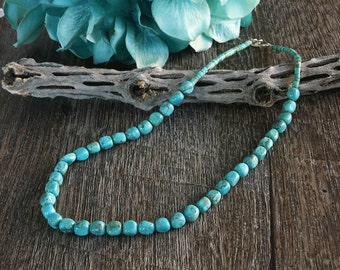 native american jewelry,santo domingo,santo domingo jewelry,turquoise,native,turquoise necklace, Santo Domingo Pueblo Turquoise Necklace