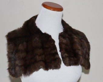 Vintage Rabbit Fur Collar Brown Temporary or Sewable One Size
