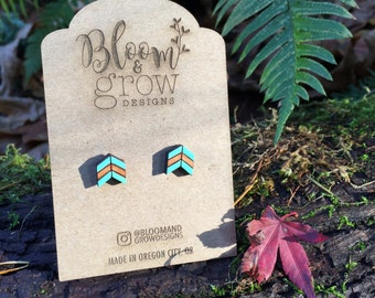 Wooden Earrings - Boho Arrow Stud