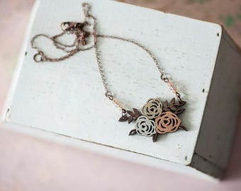 Wooden Necklace - Cystic Fibrosis Roses
