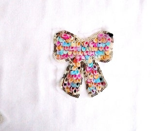 Mora Bow Patch, Sequin Bow Applique, Bow Patch, Kids Clothes Embellishment, Girls Clothes,Gift Embellishment