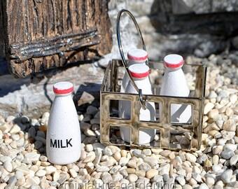 Milk Bottles with Carrier for Miniature Garden, Fairy Garden