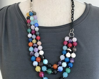 Beaded Multi Strand Gemstone Statement Necklace | Bohemian Gemstone Jewelry| Chunky Necklace | Bold Necklace | Gifts for Her | Wife Gift