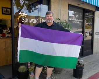 Genderqueer Pride Flag, 3x5 PURPLE, WHITE, GREEN Pride Flag, Nylon, hand-made