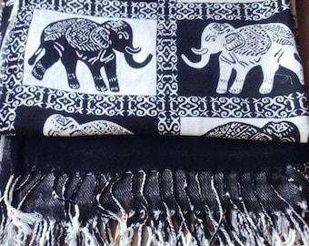 Elephants Cotton Scarf Cotton Shawl  Cotton Wrap Scarf  Black Elephants Print Scarf