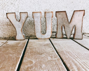 YUM Sign, kitchen Sign, rustic sign, distressed yum sign, yum letters, custom yum sign, yum metal letters, Eat Sign, Yum, Farmhouse, Rustic