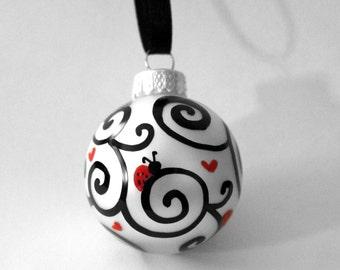 MINI Pearl White, LOVE BUGS, Glass Hand Doodled Ornament, hearts, ladybugs, black swirls